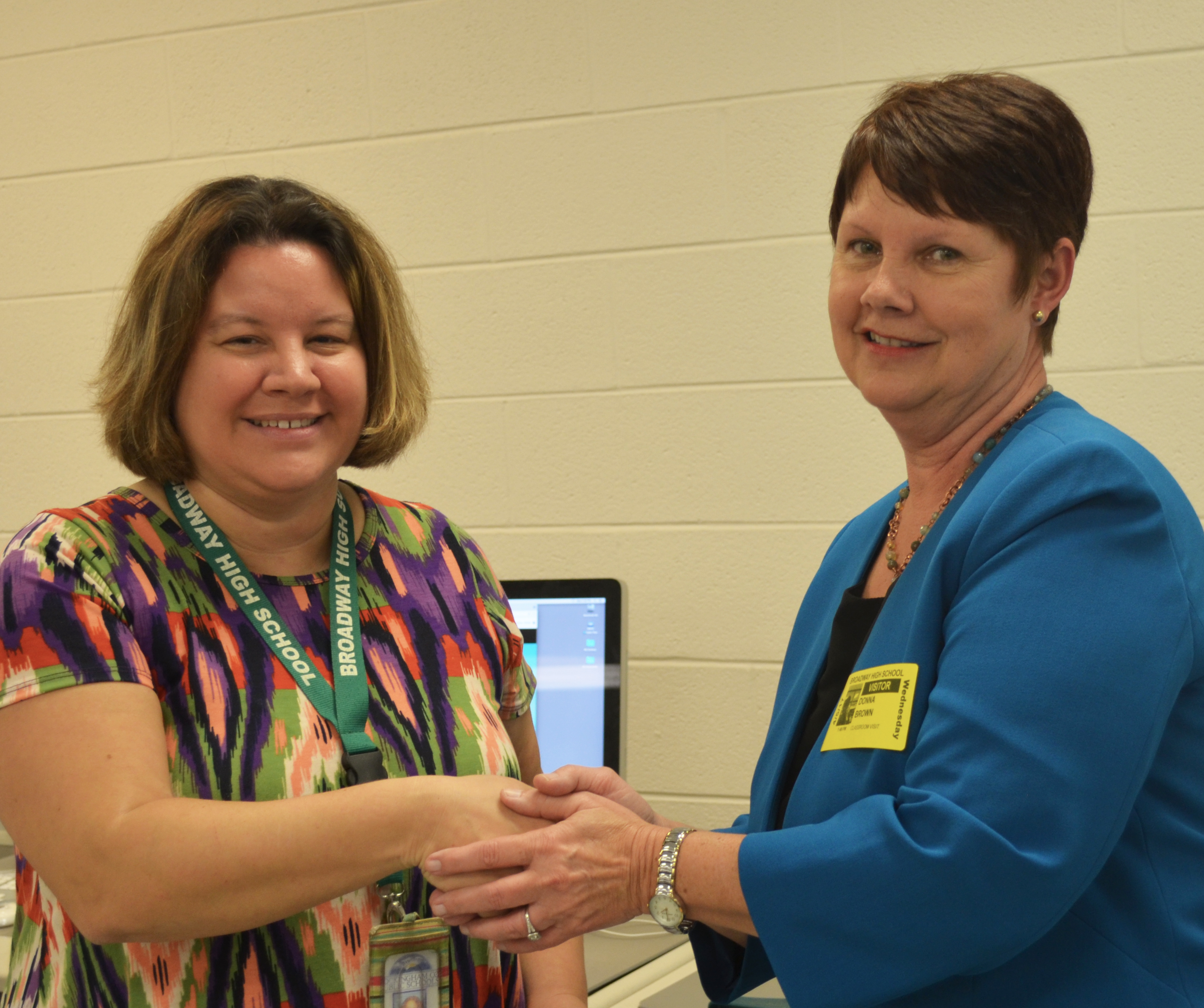 Photo of Broadway High School teacher Renee Liskey and F&M Bank lender Donna Brown