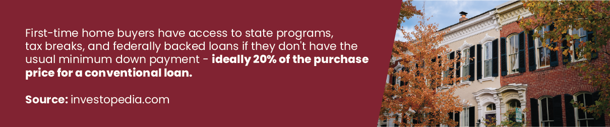 First time home buyers have access to state programs, tax breaks, and federally backed loans if they don't have the usual minimum down payment ideally 20% of the purchase for a conventional loan.