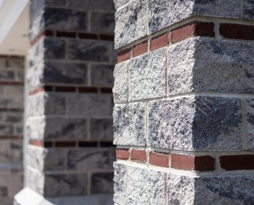 Sturdy stone and brick columns