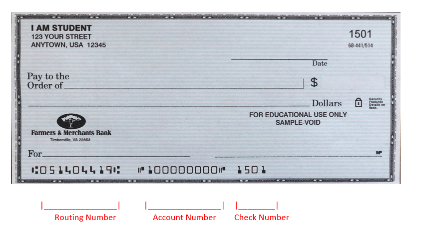 routing number on blank check